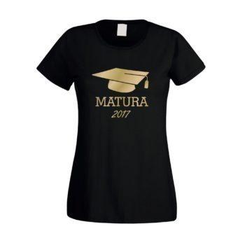 Matura 2017 - Damen T-Shirt mit Doktorhut - schwarz-gold