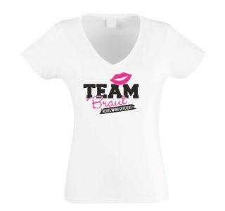 Damen T-Shirt V-Ausschnitt - TEAM BRAUT - heute wird gefeiert Weiß