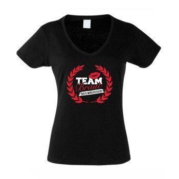 T-Shirt Damen V-Ausschnitt - TEAM BRAUT - heute wird gefeiert - mit Kranz Schwarz