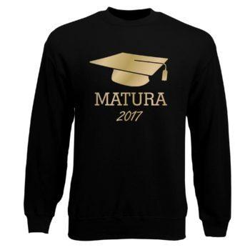 Matura 2017 - Herren Sweatshirt mit Doktorhut - schwarz-gold