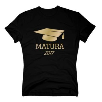 Matura 2017 - Herren T-Shirt mit Doktorhut - schwarz-gold