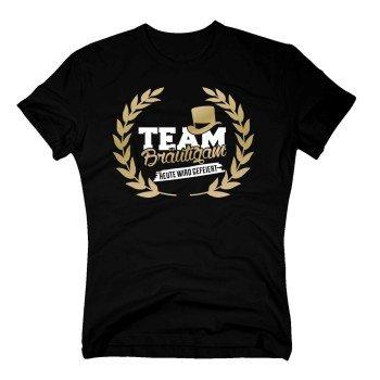 Herren T-Shirt - TEAM Bräutigam, heute wird gefeiert - mit Kranz Schwarz