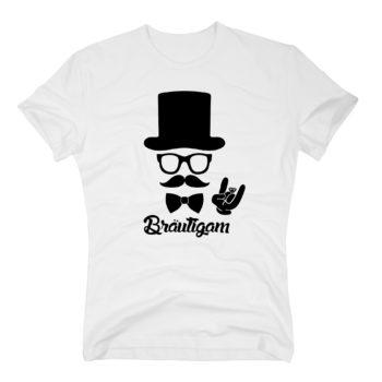 Junggesellen T-Shirt Herren - Bräutigam - mit Zylinder und Mustache