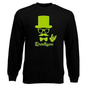 Junggesellen Sweatshirt Herren - Bräutigam - mit Zylinder und Mustache