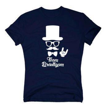 T-Shirt Herren - Team Bräutigam mit Zylinder und Mustache