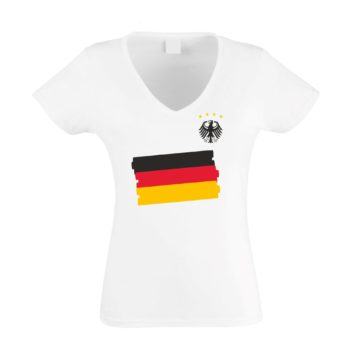 EM 2016 Deutschland Damen T-Shirt V-Neck