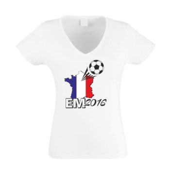 EURO 2016 Damen T-Shirt V-Neck Frankreich Flagge