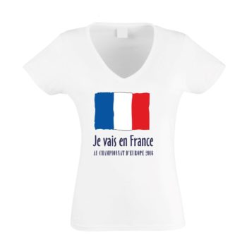 EM Damen T-Shirt V-Neck - Je vais en France - Au championnat d'Europe 2016