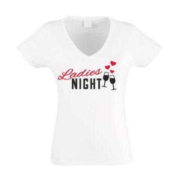 JGA Damen T-Shirt V-Neck - Ladies Night Herz