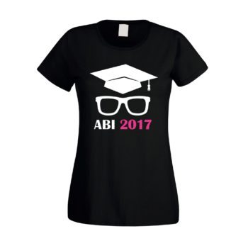 Damen T-Shirt - Abitur 2017 mit Doktorhut und Brille