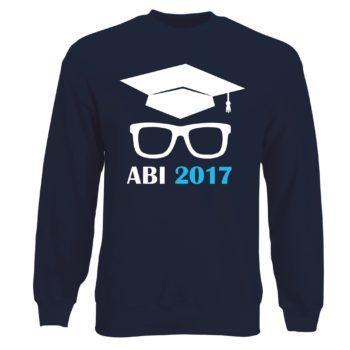 Herren Sweatshirt - Abitur 2017 mit Doktorhut und Brille