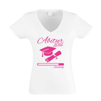 Damen T-Shirt V-Neck - Abitur 2016 loading mit Doktorhut