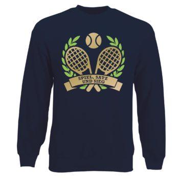 Herren Sweatshirt - Spiel, Satz und Sieg - Tennis dunkelblau