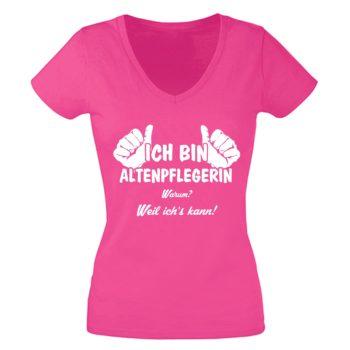Geschenke für Altenpflegerin - Damen T-Shirt V-Neck - Ich bin Altenpflegerin