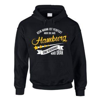 Herren Hoodie - Kein Mann ist perfekt aber die aus Hamburg sind nah dran
