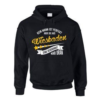 Herren Hoodie - Kein Mann ist perfekt aber die aus Wiesbaden sind nah dran