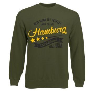 Herren Sweatshirt - Kein Mann ist perfekt aber die aus Hamburg sind nah dran