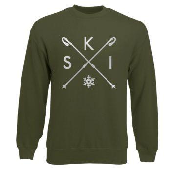 Herren Sweatshirt - Skistöcker - S-K-I