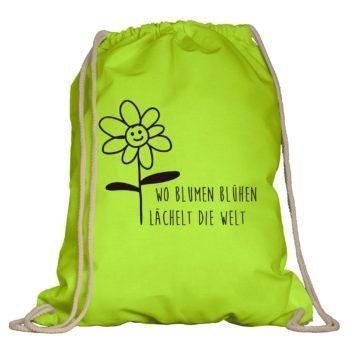 Turnbeutel - Wo die Blumen blühen, lächelt die Welt
