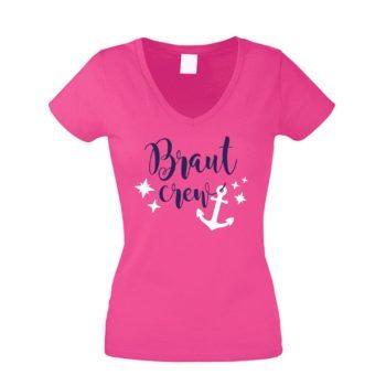 JGA Damen T-Shirt V-Ausschnitt - Braut Crew