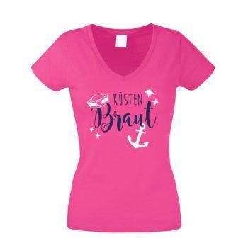 JGA Damen T-Shirt V-Ausschnitt - Küsten Braut