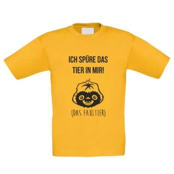 Kinder T-Shirt - Ich spüre das Tier in mir - Das Faultier gelb